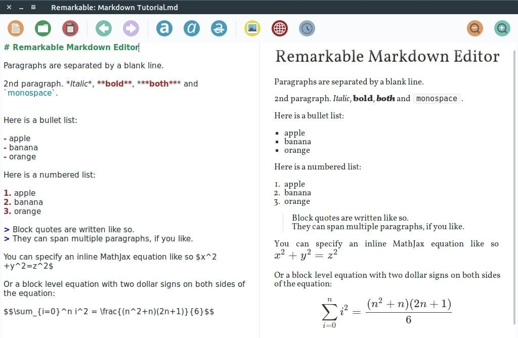 Remarkable Markdown editor screenshot