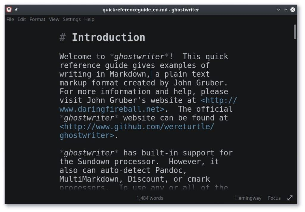 Ghostwriter Markdown editor screenshot