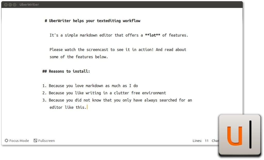 UberWriter Markdown editor screenshot