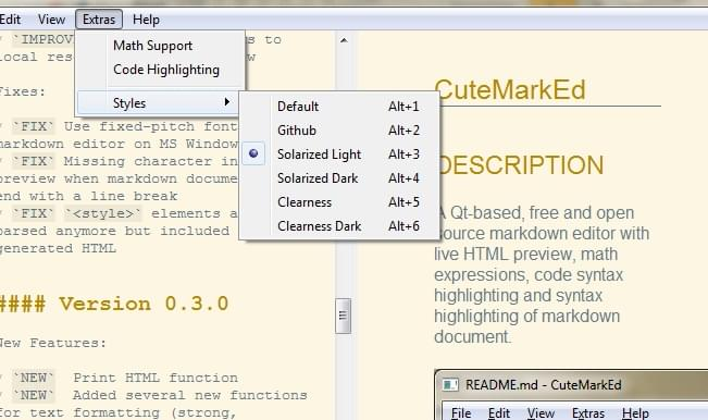 Cutemarked Markdown editor screenshot