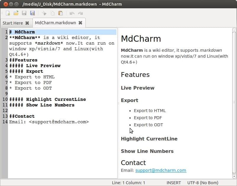 mdcharm Markdown editor screenshot