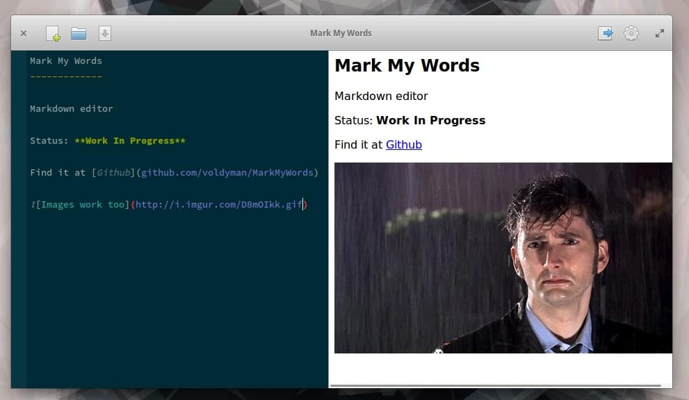 Mark My Words Markdown editor screenshot