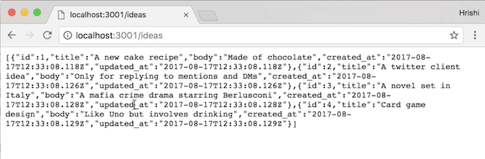 Testing our API endpoint in a browser