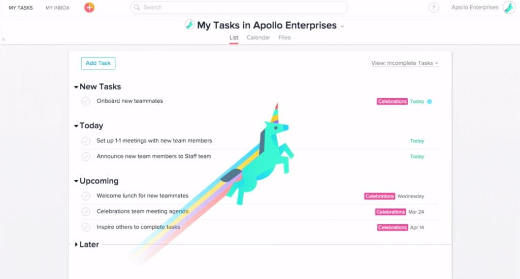 A unicorn flies across the Asana screen