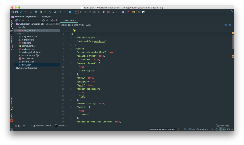 WebStorm and Angular: Import auto format options from TS Lint
