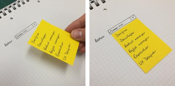 A select box using a sticky note for a drop-down menu