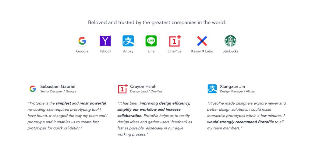Companies who use ProtoPie