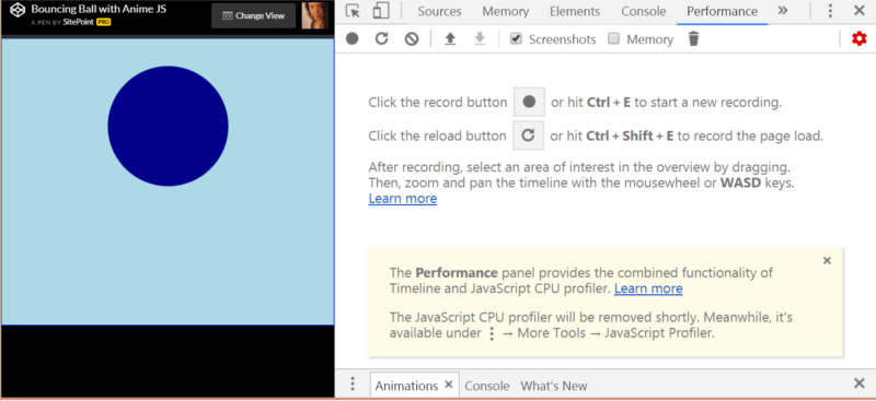 Performance tab in Chrome dev tools