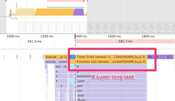 A long-running task in DevTools