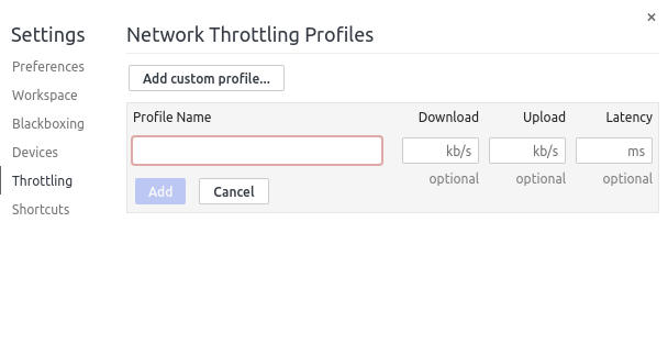 Setting a custom network profile