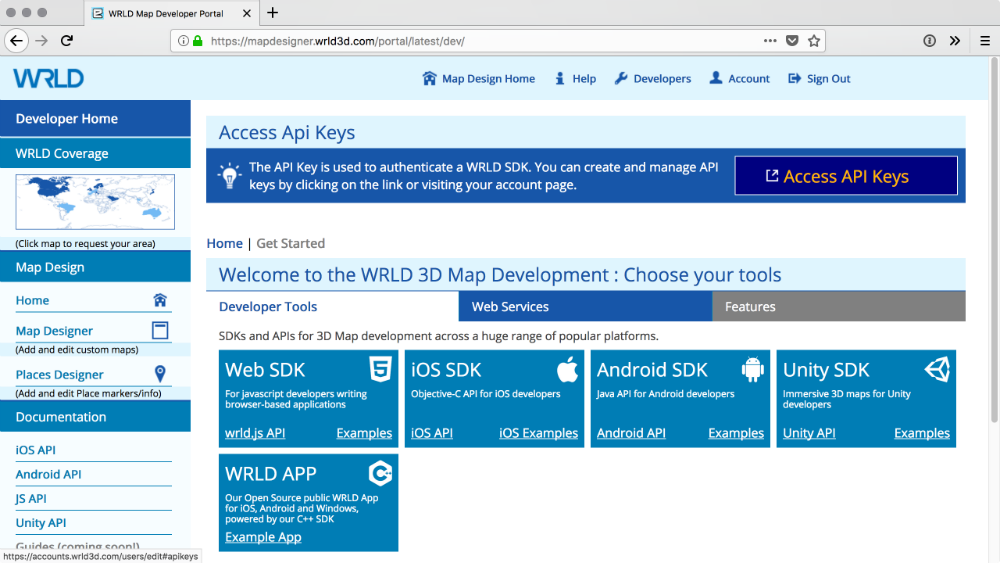 WRLD access API Keys screen