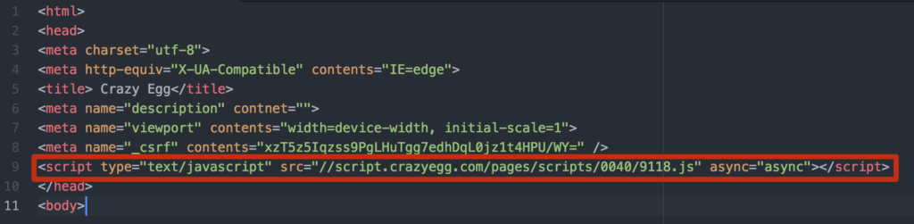 Adding Crazy Egg code to your site