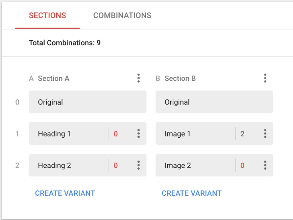 Combination variations