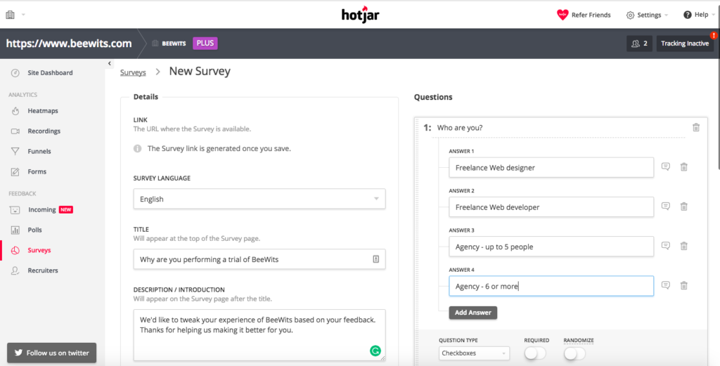 Setting up a survey in Hotjar