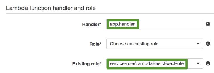 Lambda function handler