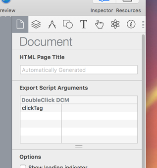 Export Script options in the Document Inspector