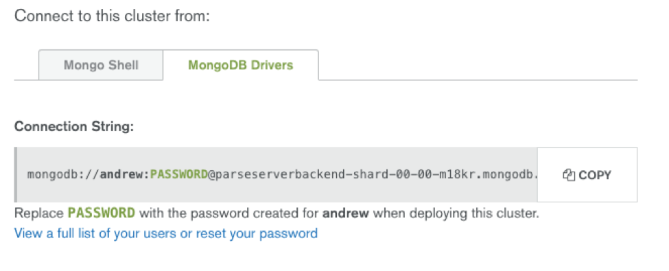 Location of appropriate MongoDB URI