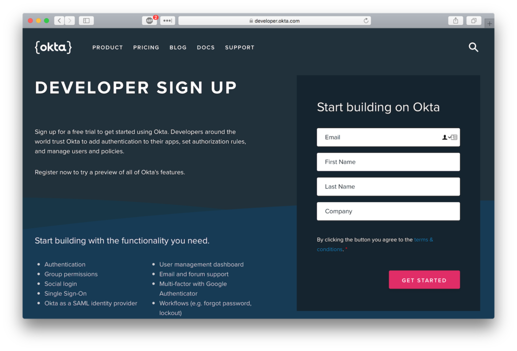 Okta Developer Sign Up
