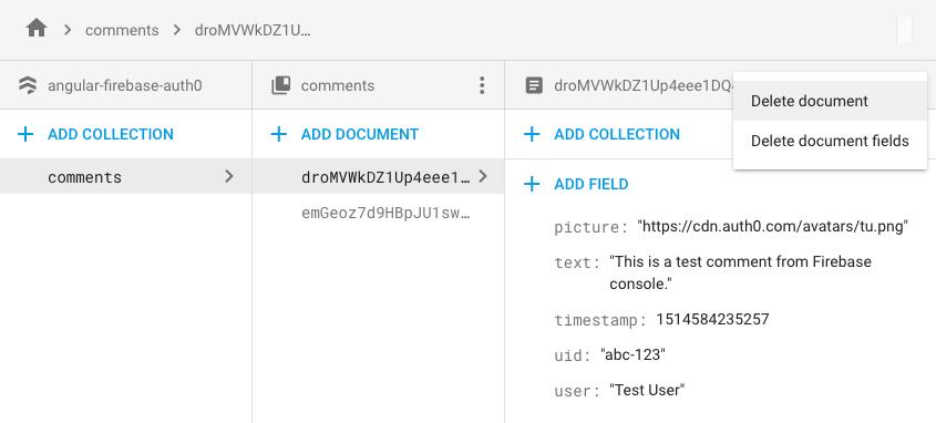 Firebase delete comment