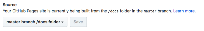 Your GitHub Pages site is currently being built from the /docs folder in the master branch. Learn More