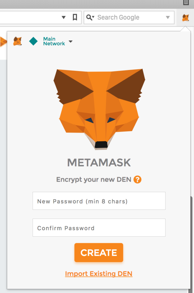 MetaMask password