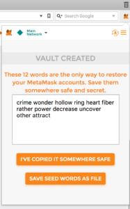 MetaMask seed