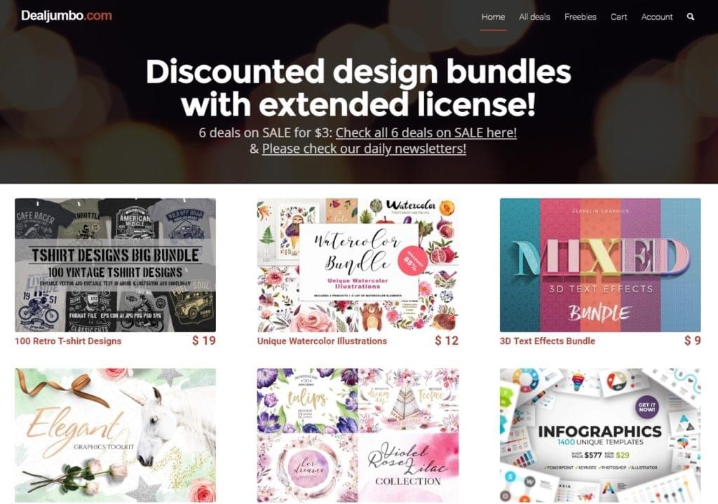 DealJumbo - Discounted Design Bundles  - 15311134983 - 29 Awesome Tools for Web Designers & Developers — SitePoint