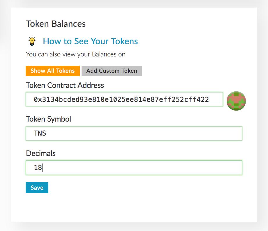 Adding a custom token in MEW