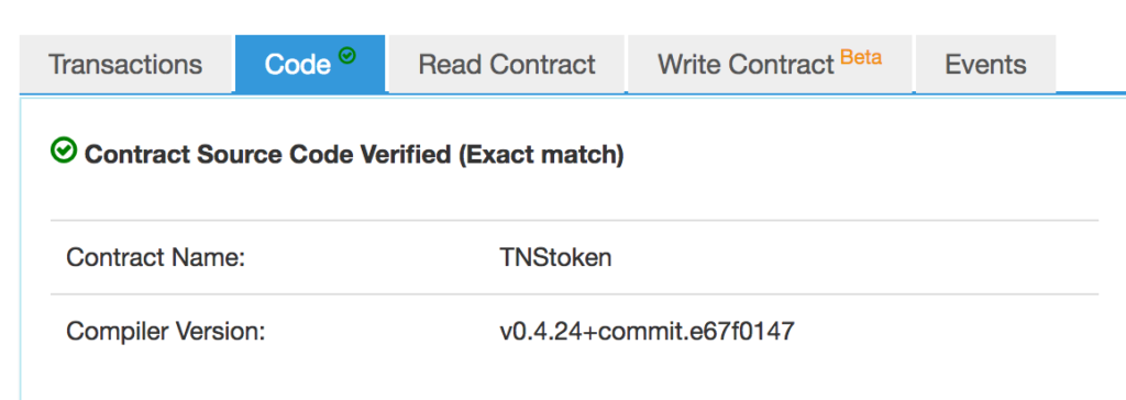The token is now marked as trusted  - 1531210658trusted 1024x364 - Compiling, Deploying, Testing TNS tokens — SitePoint