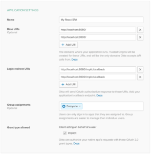 Create new application settings