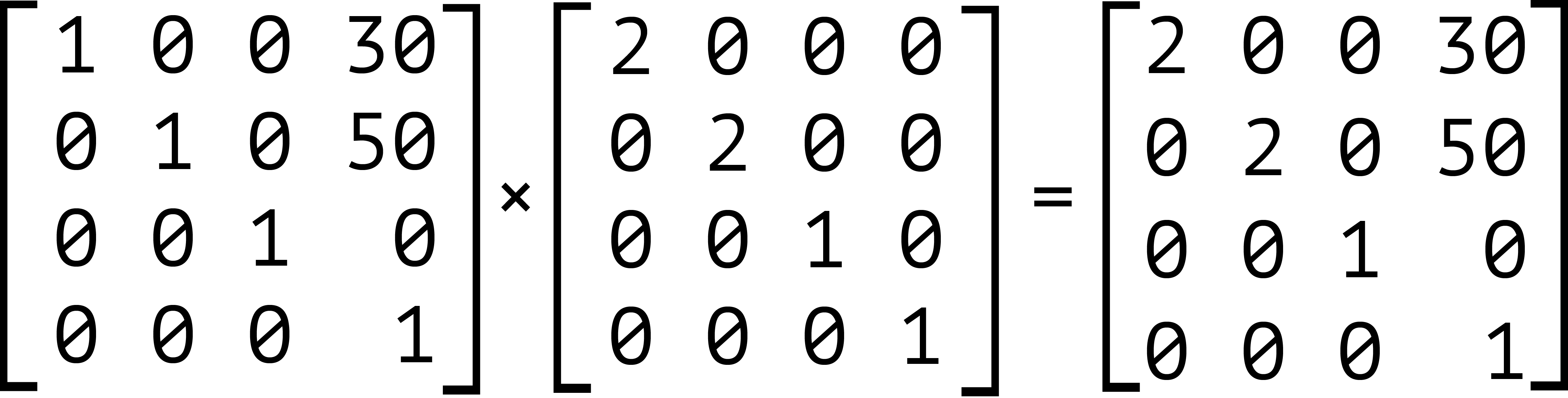 The product of the matrices for translate(30px, 50px) and scale(2)