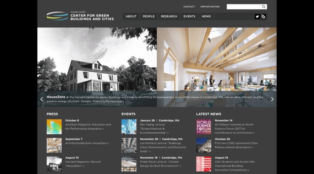 The Harvard Center for Green Buildings and Cities website