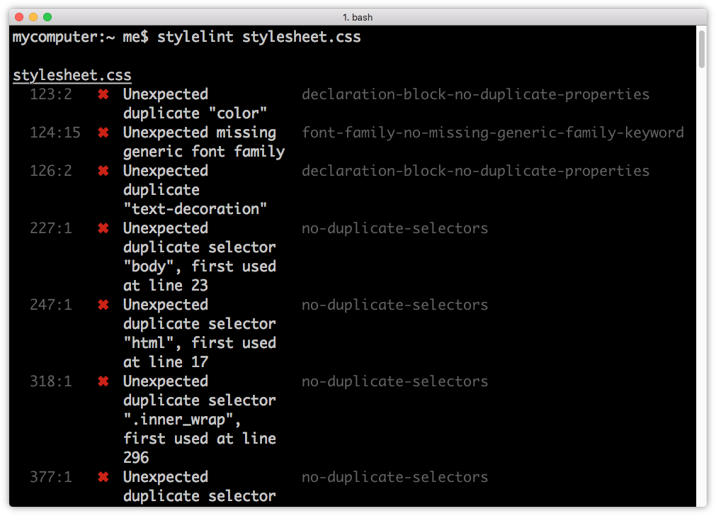 Terminal output from stylelint