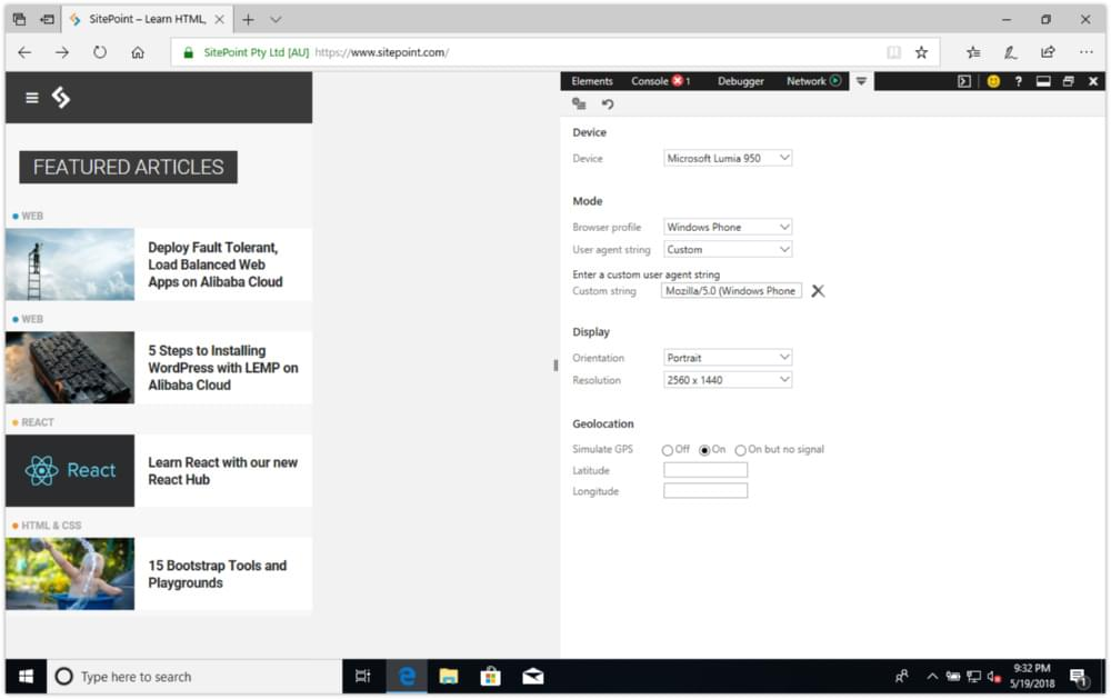 SitePoint.com using Microsoft Edge's device emulation mode