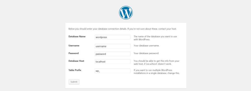 WordPress database defined during installation