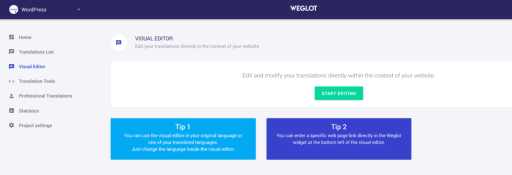 The Weglot visual editor