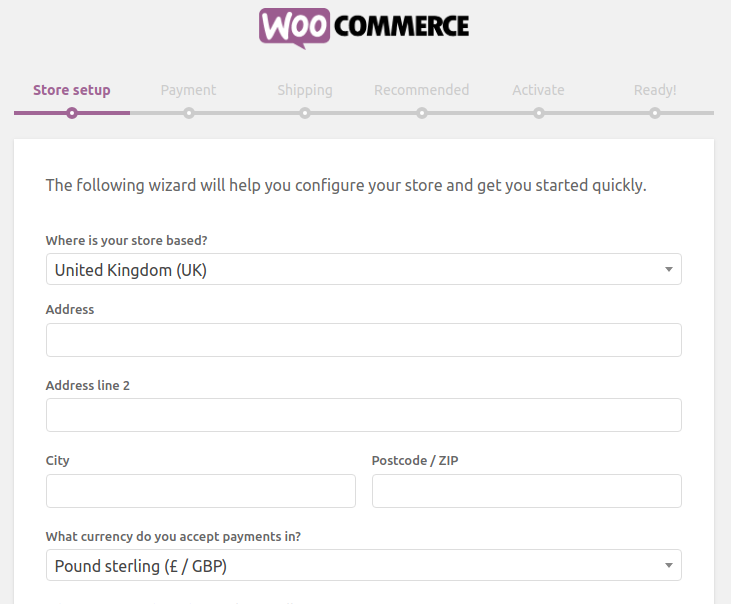 The WooCommerce wizard