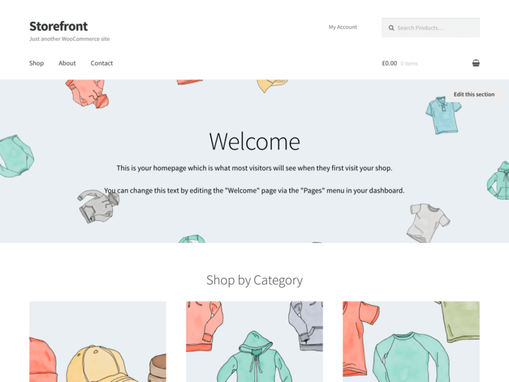 Storefront home page