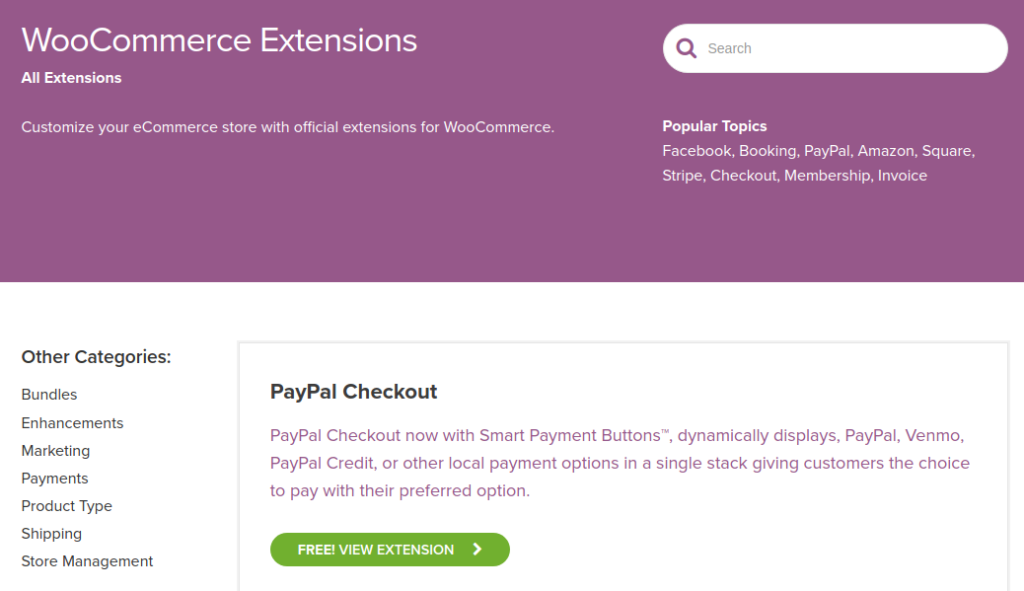 The WooCommerce Extensions page