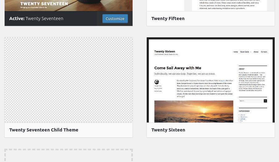 Choisir votre thème enfant WordPress dans la section Thèmes WordPress