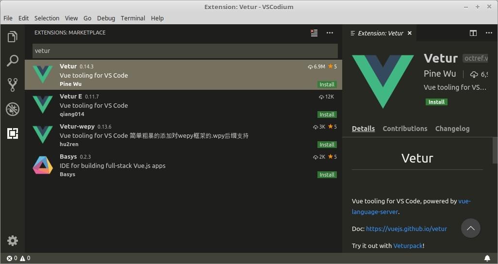 Installing Vetur in VS Code