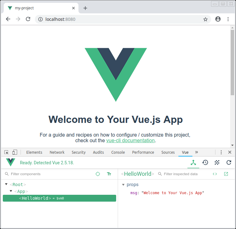 Vue browser tools displaying a component tree