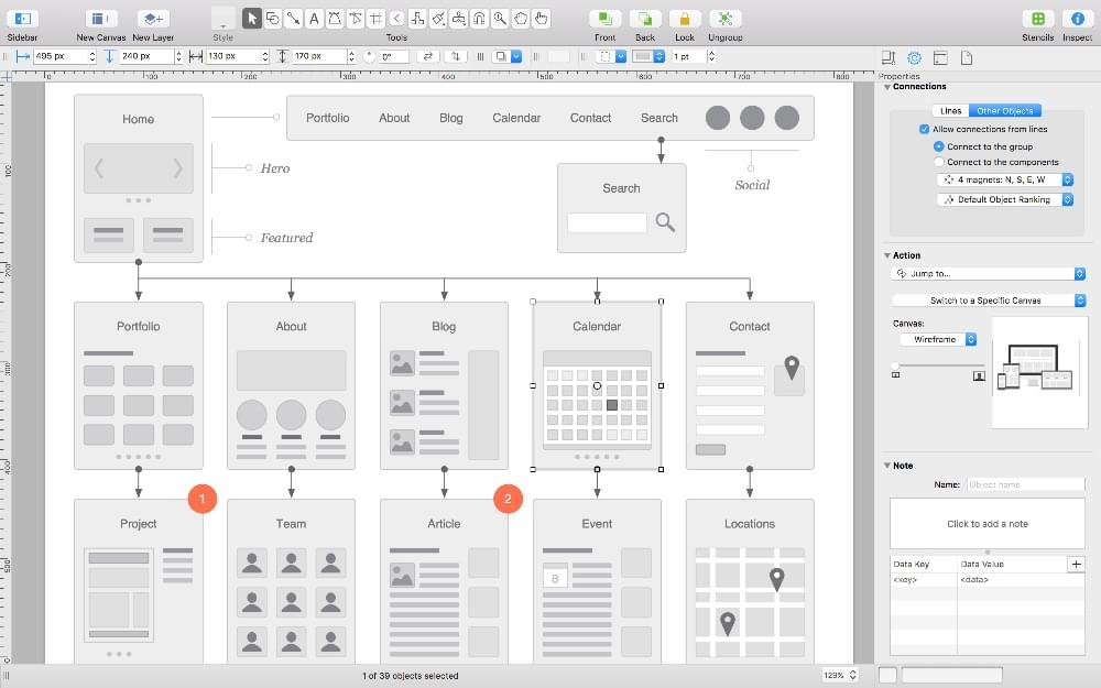 The OmniGraffle interface