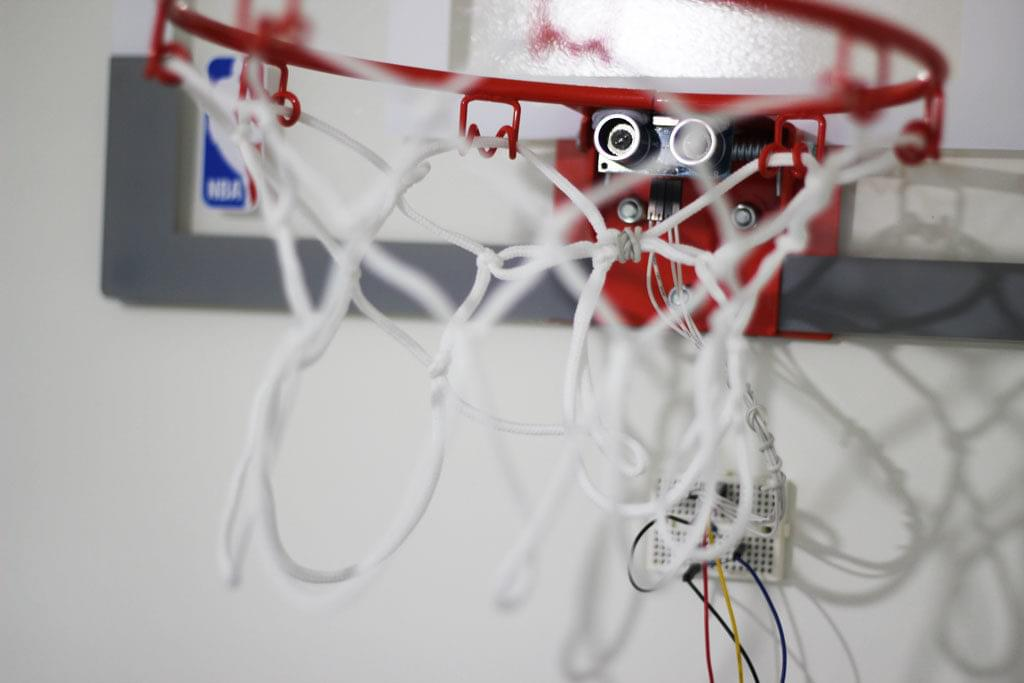 The ultrasonic sensor stuck right below the hoop
