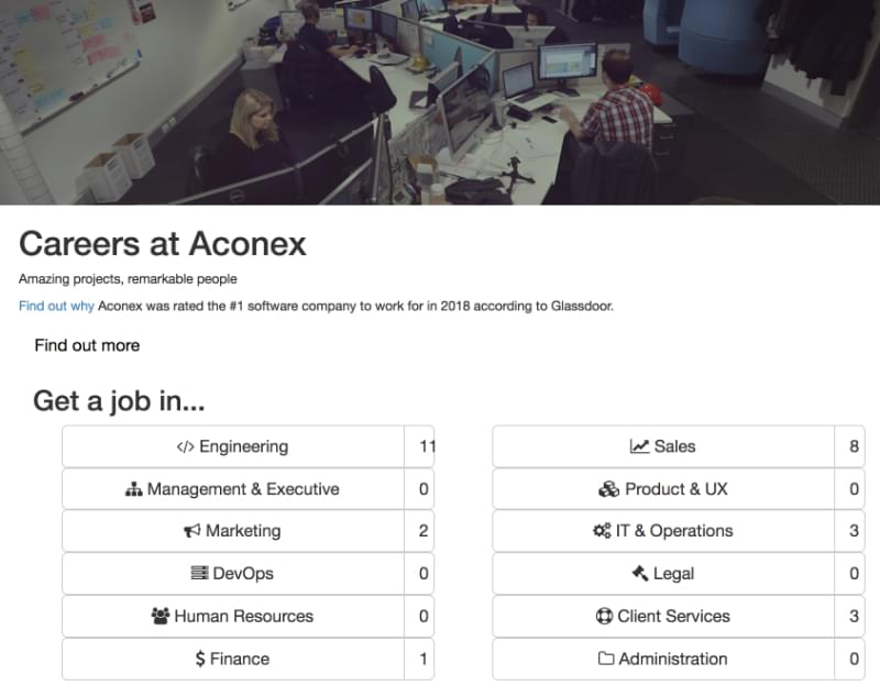 Job listings on the old Aconex site
