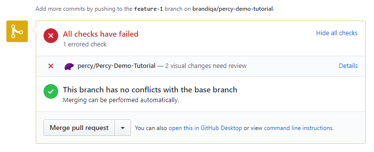 pull request check failed