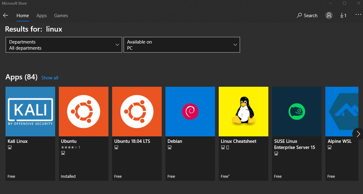Microsoft Store Linux
