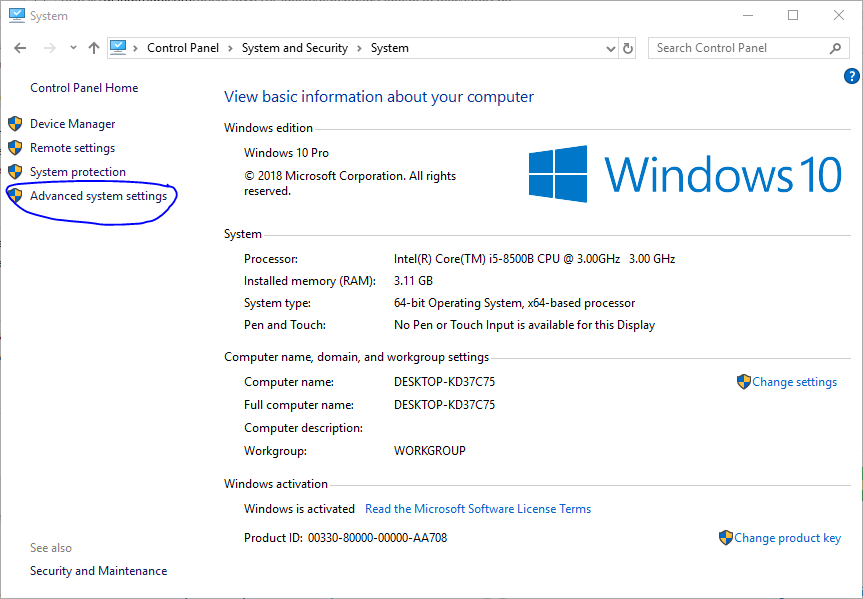 Windows advanced system settings