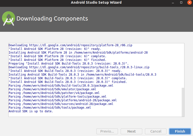 Android Studio finished installation