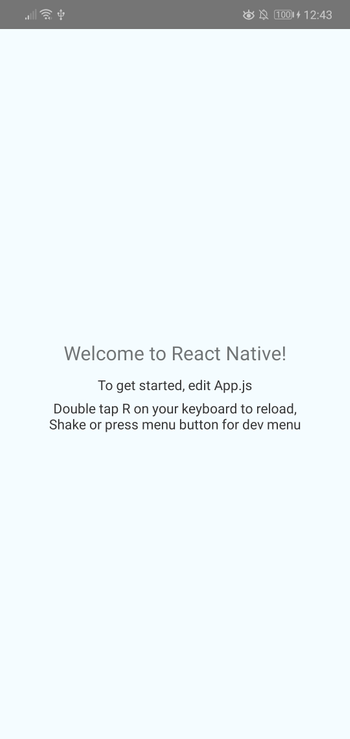 default React Native screen